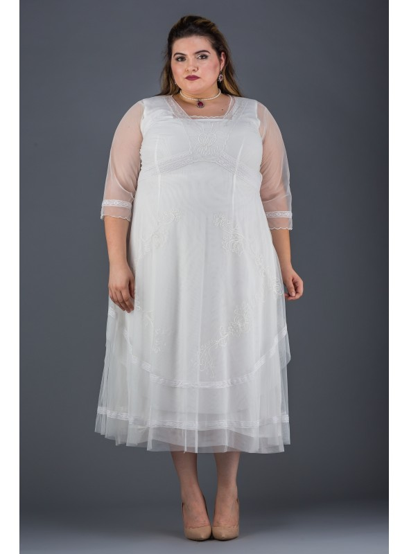 Plus Size Mary Darling Dress in Ivory by Nataya