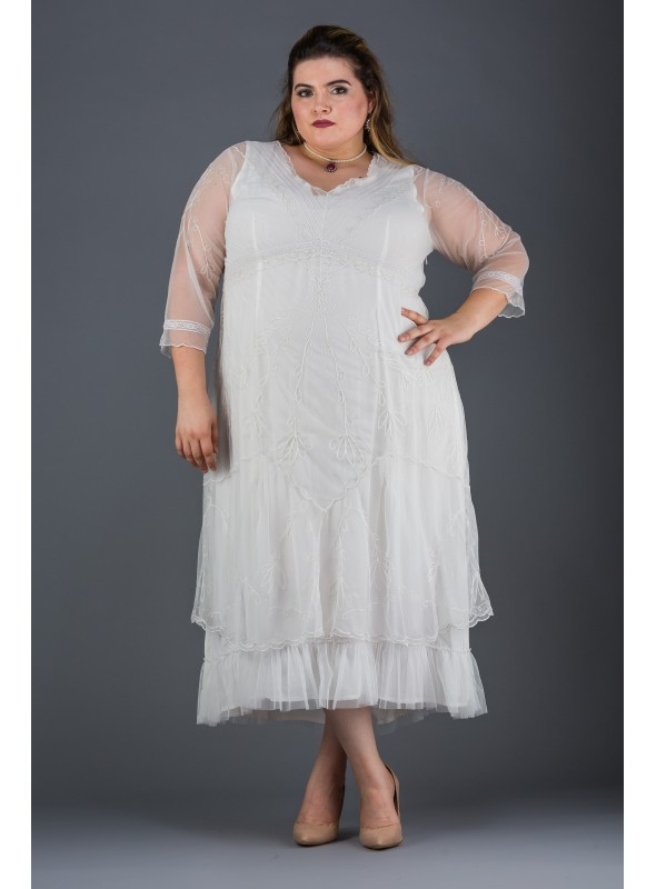 Plus Size Somewhere in Time Dress in Ivory by Nataya