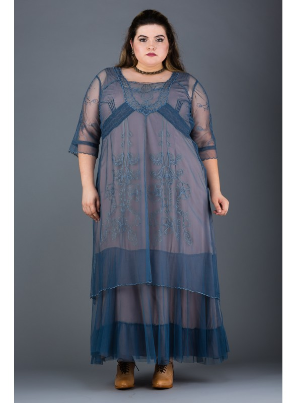 Plus Size Victoria Vintage Style Party Gown in Azure by Nataya