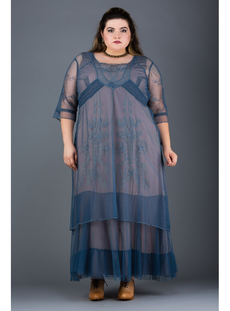 719f61d8558 Plus Size Victoria Vintage Style Party Gown in Azure by Nataya